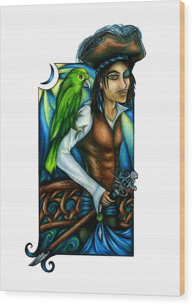 Pirate With Parrot Art Wood Print