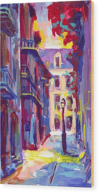 Pirates Alley New Orleans Wood Print by Saundra Bolen Samuel