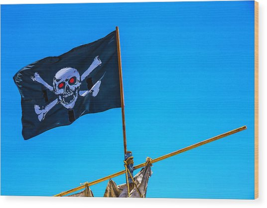 Pirates Death Black Flag Wood Print