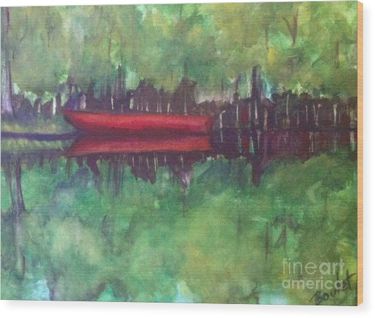 Pirogue On Bayou Lafourche Wood Print