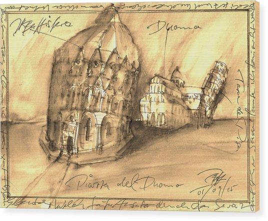 Pisa Wood Print by Joerg Bernhard Klemmer