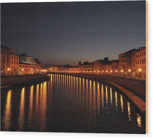 Pisa's Arno Wood Print