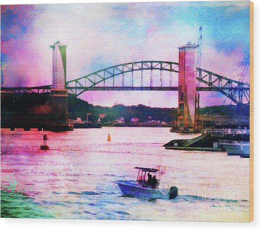 Piscataqua River Bridge From Harborwalk Park, Portsmouth New Hampshire Wood Print
