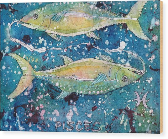 Wood Print featuring the painting Pisces by Ruth Kamenev
