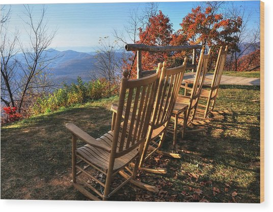 Pisgah Inn's Rocking Chairs Wood Print