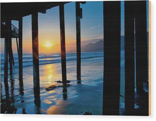 Pismo Beach Pier Sunset Wood Print