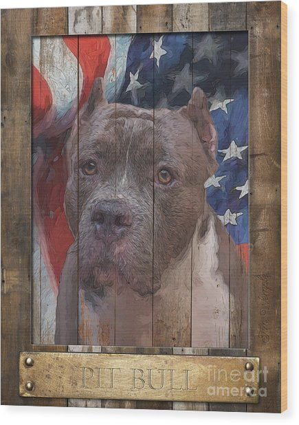 Pit Bull Flag Poster Wood Print by Tim Wemple