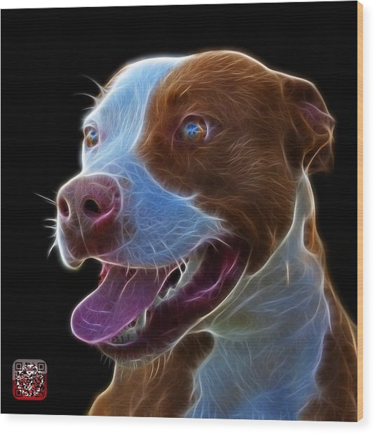 Pit Bull Fractal Pop Art - 7773 - F - Bb Wood Print