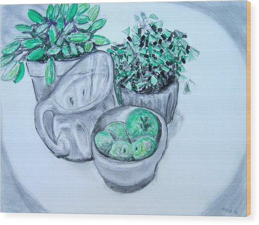 Pitcher And Plants Wood Print
