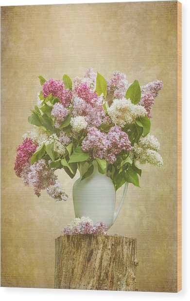 Pitcher Of Lilacs Wood Print