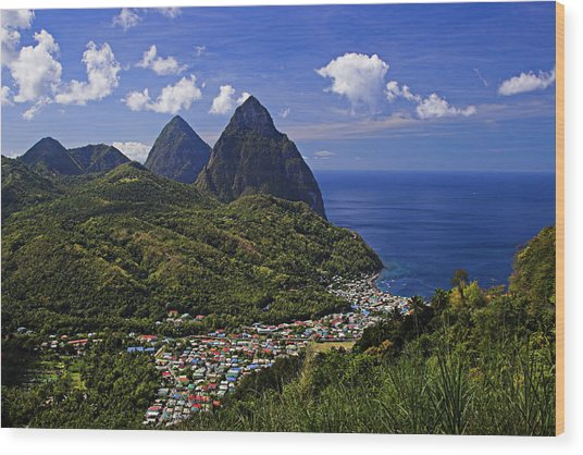 Pitons St Lucia Wood Print