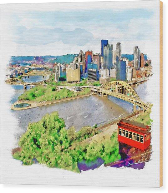 Pittsburgh Aerial View Wood Print