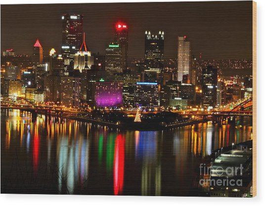 Pittsburgh Christmas At Night Wood Print