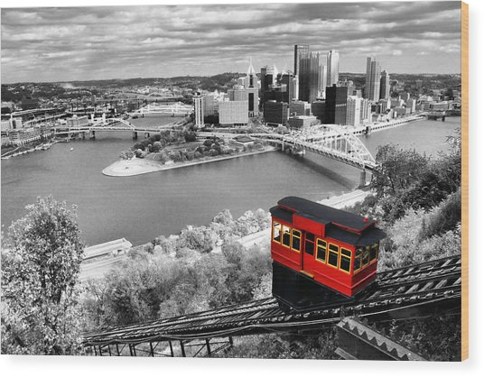 Pittsburgh From The Incline Wood Print