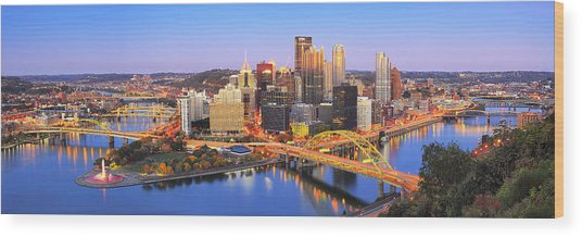 Pittsburgh Pano 22 Wood Print