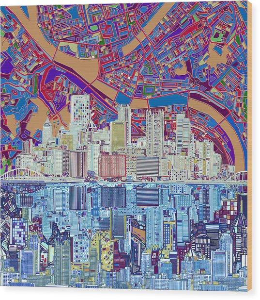 Pittsburgh Skyline Abstract 6 Wood Print