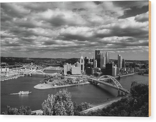 Pittsburgh Skyline With Boat Wood Print