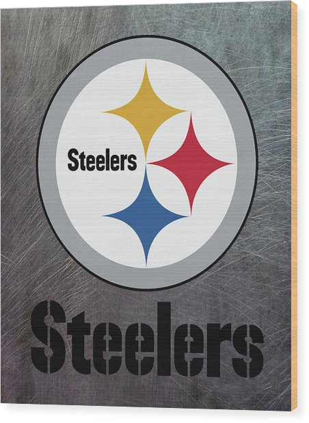 Pittsburgh Steelers On An Abraded Steel Texture Wood Print