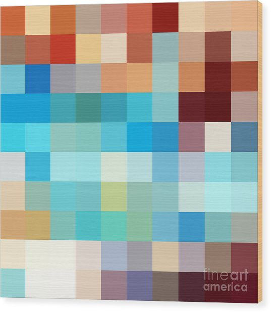 Pixel Art 1 Wood Print