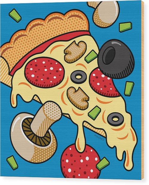 Pizza On Blue Wood Print