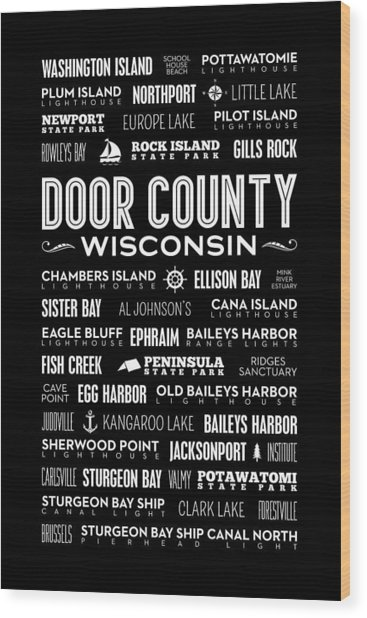 Places Of Door County On Black Wood Print