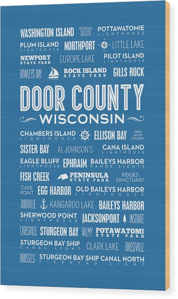 Places Of Door County On Blue Wood Print