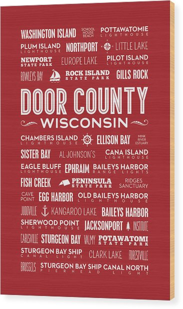 Places Of Door County On Red Wood Print