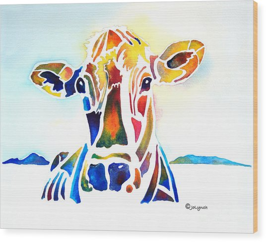 Placid The Cow Wood Print