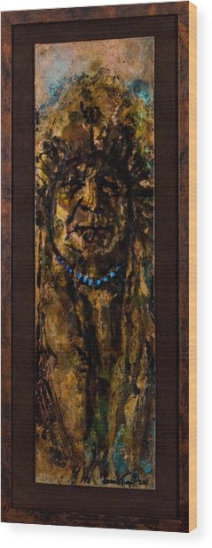 Plains Indian Chief Wood Print
