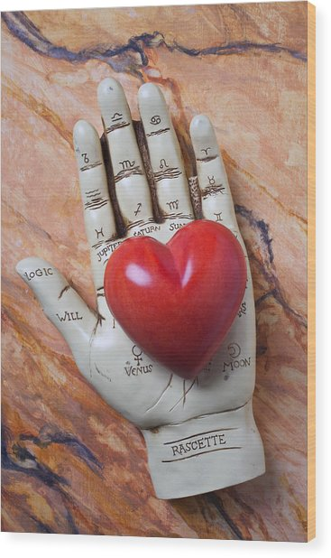 Plam Reader Hand Holding Red Stone Heart Wood Print