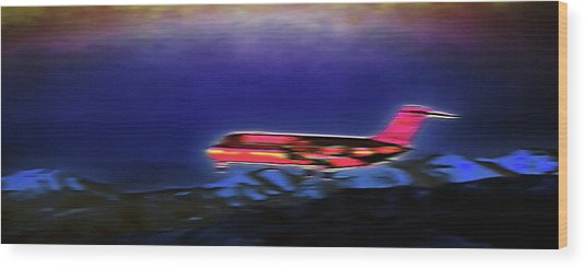 Plane Landing At Airport - The Red Eye Flight Wood Print by Steve Ohlsen