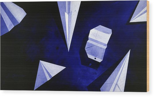 Wood Print featuring the painting Planes On Blue by Lucas Boyd