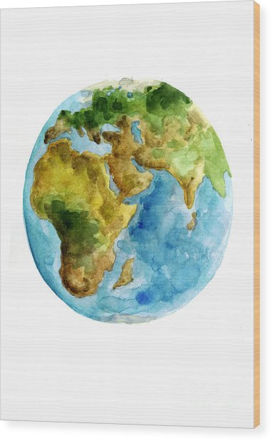 Planet Earth Watercolor Poster Wood Print
