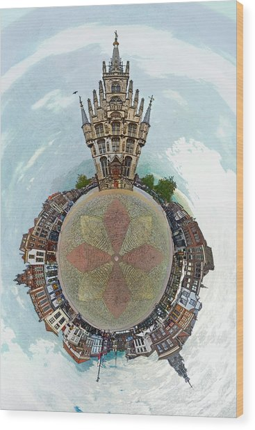 Planet Gouda Wood Print