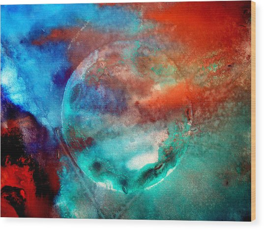 Planet In Galaxy Andromeda Wood Print