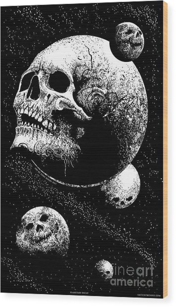 Planetary Decay Wood Print
