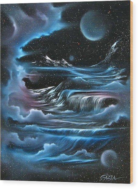 Planetary Falls Wood Print by David Gazda