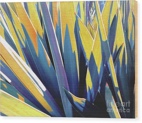 Plant Burst - Yellow Wood Print