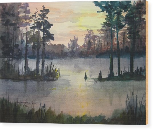 Plaquemines Parish Louisiana Sunset Wood Print