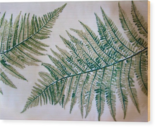 Platter With Ferns Wood Print