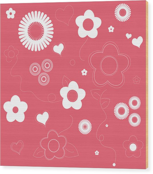 Playful Flower Background Wood Print