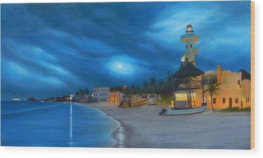 Playa De Noche Wood Print