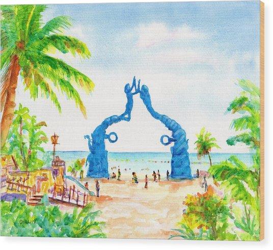 Playa Del Carmen Portal Maya Statue Wood Print
