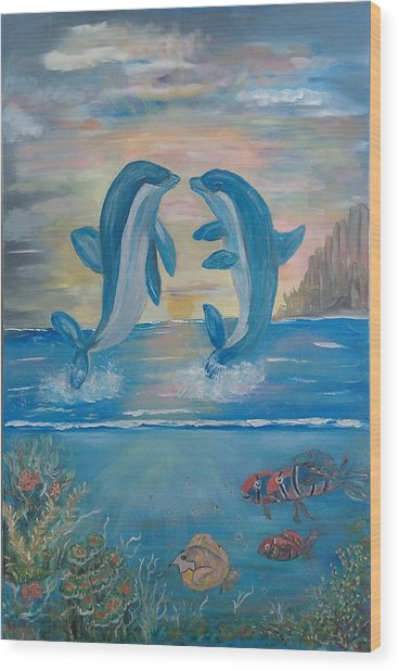 Playful Dolphins Wood Print by Mikki Alhart