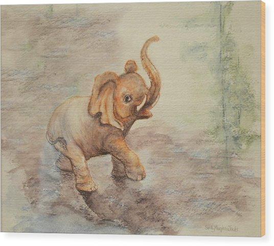 Playful Elephant Baby Wood Print