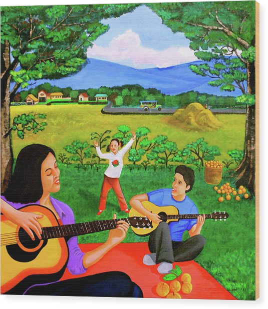 Playing Melodies Under The Shade Of Trees Wood Print