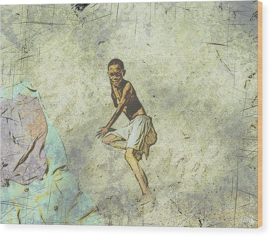 Playing On The Beach Wood Print by Jan Hattingh