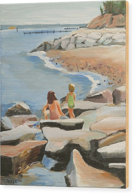 Playing On The Jetties Wood Print