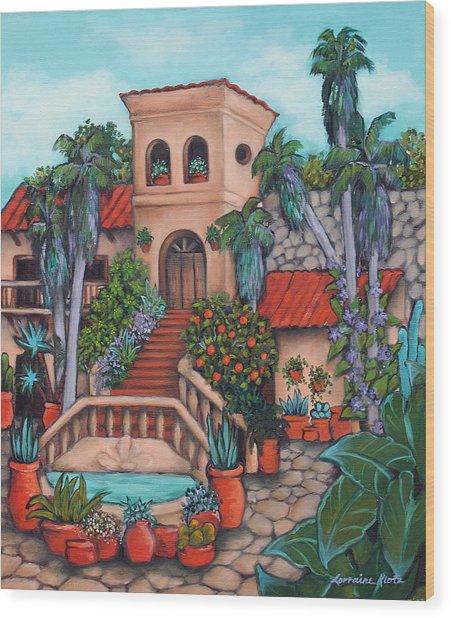 Plaza Jardin Wood Print by Lorraine Klotz