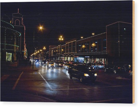 Plaza Lights Wood Print